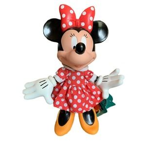 """Vintage Disney Minnie Mouse 9"""" X 7"""" Applause Rare Doll Rubber Vinyl Hinged NOS"""